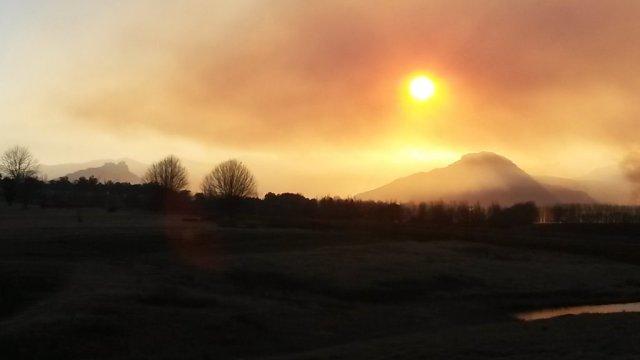 or veld fires in the Winter in Underberg